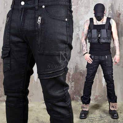 Multiple zipper coated black slim biker jeans