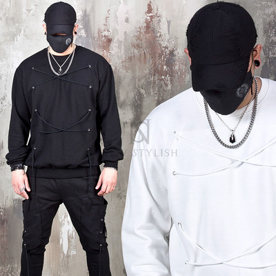 Eyelet strap sweatshirts
