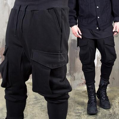 Big loose cargo pocket black sweatpants