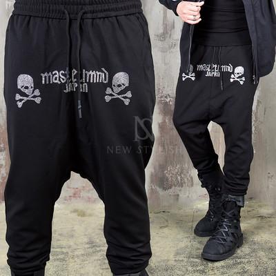 Stud cubic skull baggy sweatpants