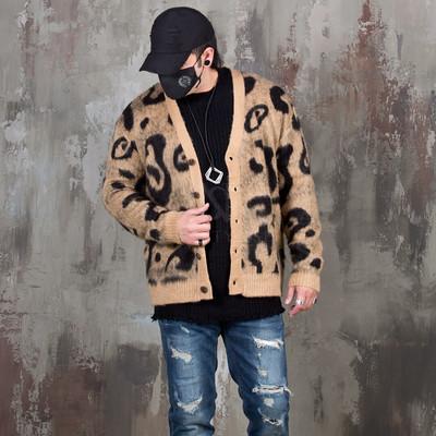 Leopard pattern brush cardigan