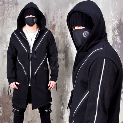Multiple diagonal zipper accent zip-up hoodie