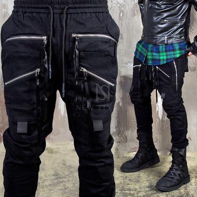 Multiple strap zippered techwear banding pants