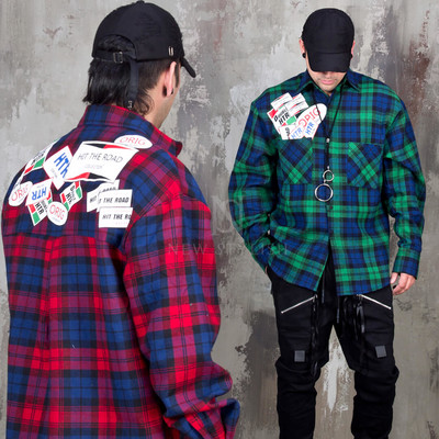 Multiple patchwork checkered loose shirts