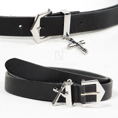 Cross charm attached metal belt
