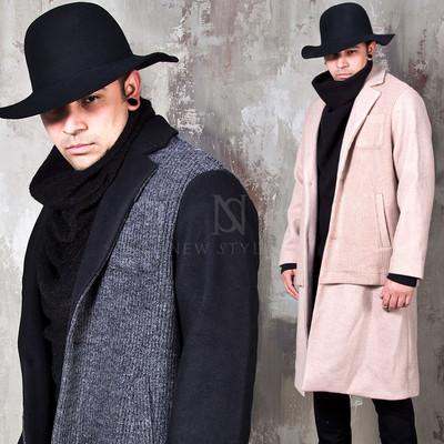 Knit layered single long coat