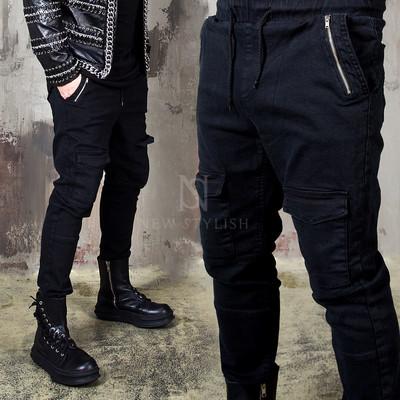 Metal zipper front cargo pocket banding pants