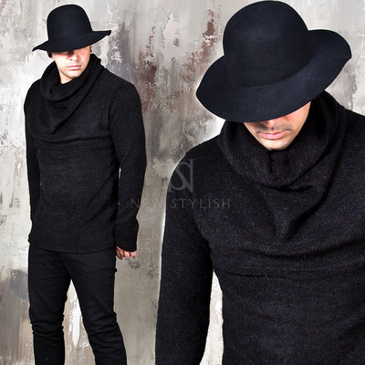 Black knit shirring turtle neck shirts