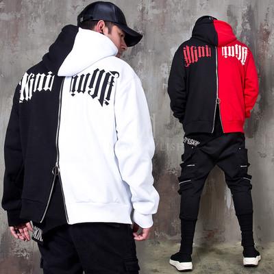 Back zippered half and half contrast hoodie
