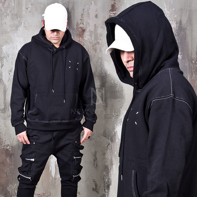 Over stitch accent hoodie
