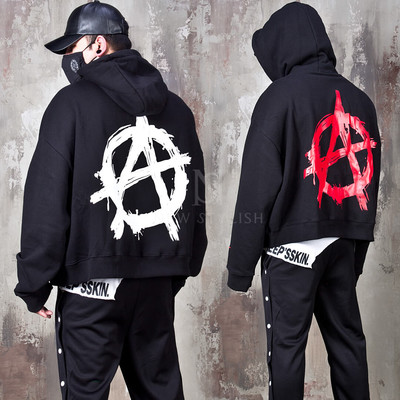 Emblem printed extra long sleeve hoodie