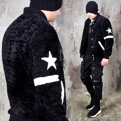 Contrast star sleeve fut jacket