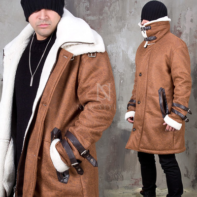 Double faced brown long leather jacket