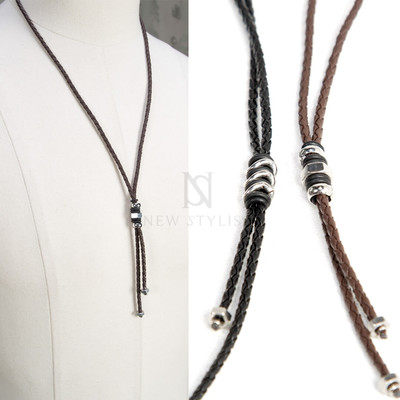 Braided leather strap metal nut necklace