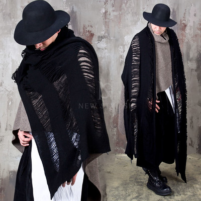 Distressed black wool knit long muffler