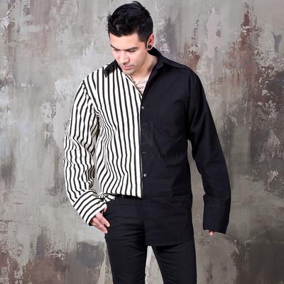 Half and half contrast cuffs shirts