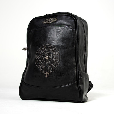 Studded emblem leather backpack