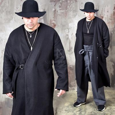 Oriental vibe collarless long coat