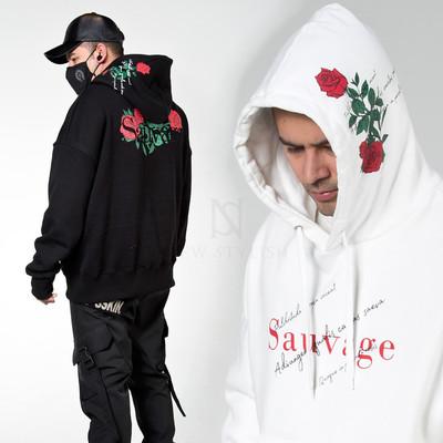 Rose printed loose fit hoodie