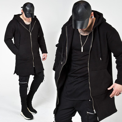 Plain long zip-up hoodie