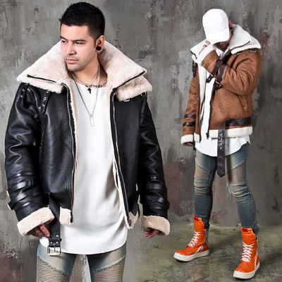 Double faced fleeced leather jacket