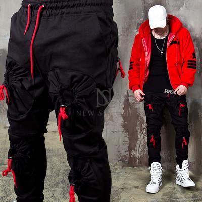 4 Red cord pocket black banded pants