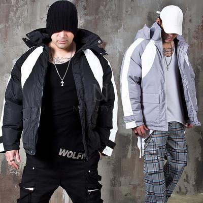 Contrast hooded short parka