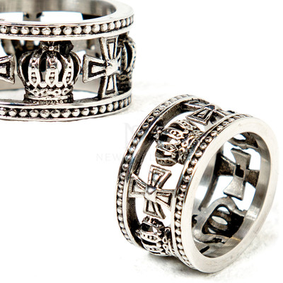 Celtic cross and crown metal ring