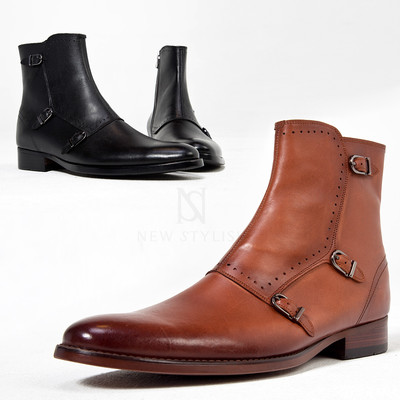 Triple monk strap cow leather ankle boots
