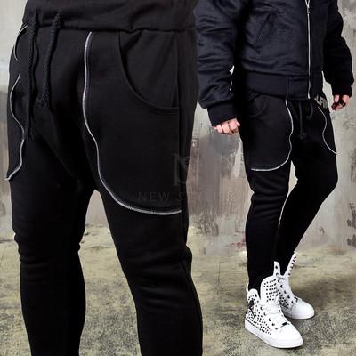 Curved zipper accent baggy sweatpants