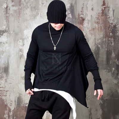 Asymmetric turtleneck batwing long sleeve t-shirts