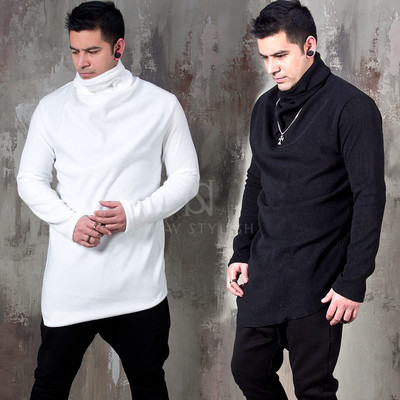 Asymmetric fleece turtleneck shirt