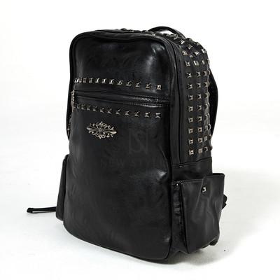 Studded emblem leather backpack ver.3