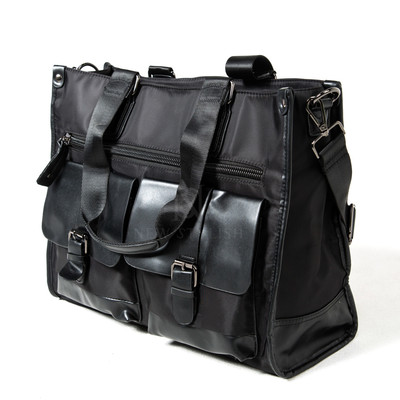 Double leather pocket tote bag