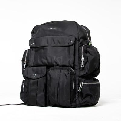Multiple pocket black backpack