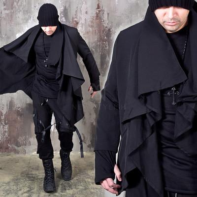 Arm-warmer black shawl cardigan