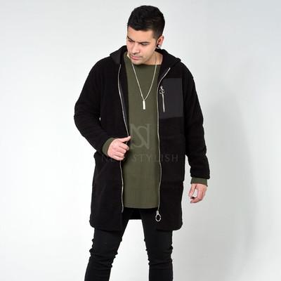 Fleece long zip-up hoodie