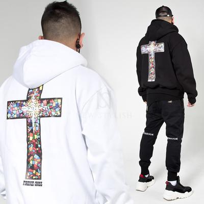 Catholic mosaic cross hoodie