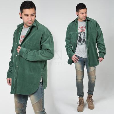 Retro corduroy long shirt jacket