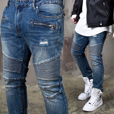 Distressed pintuck blue denim biker jeans