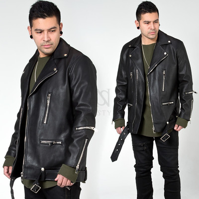 Multiple zippered leather jacket