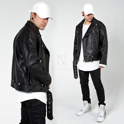 Belted rider leather jacket