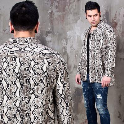 Python patterned button-up shirts