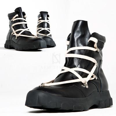 Unique lace black high-top boots