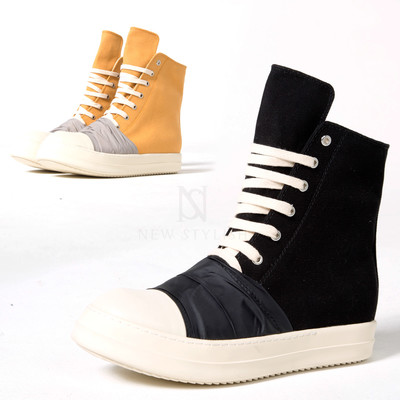Contrast fabric contrast high-top sneakers