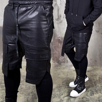 Unbalanced hem banded leather shorts