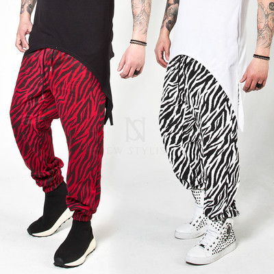Zebra patterned baggy sweatpants
