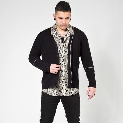 Zipper line black knit cardigan