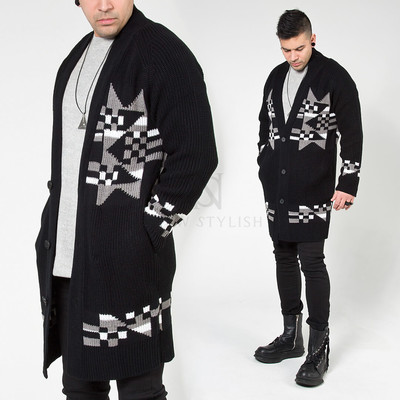Jacquard patterned knit long cardigan