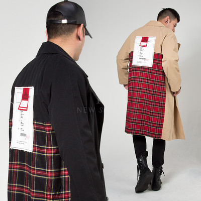 Checkered back patchwork double breasted coat